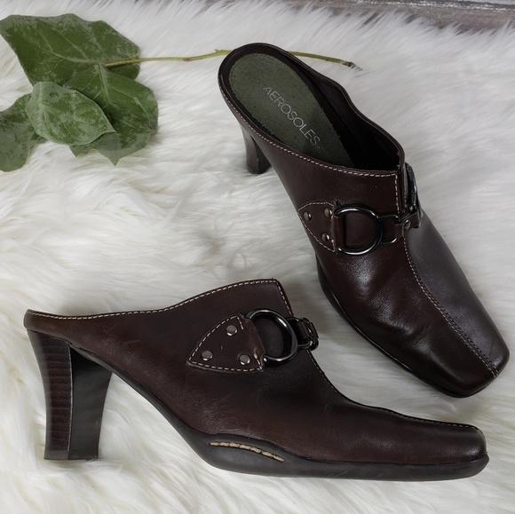AEROSOLES Shoes - AEROSOLES Brown Chunky Heel Mules